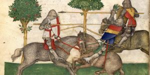 jousting knight manuscript 14th century